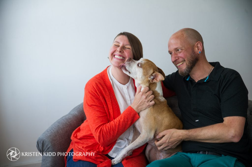 pit bull rescue dog with family