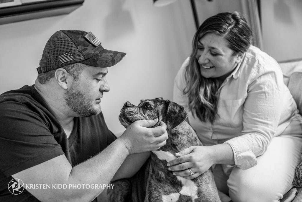 pet family portrait photo session with senior dog in home in King of Prussia at Kristen Kidd Photography