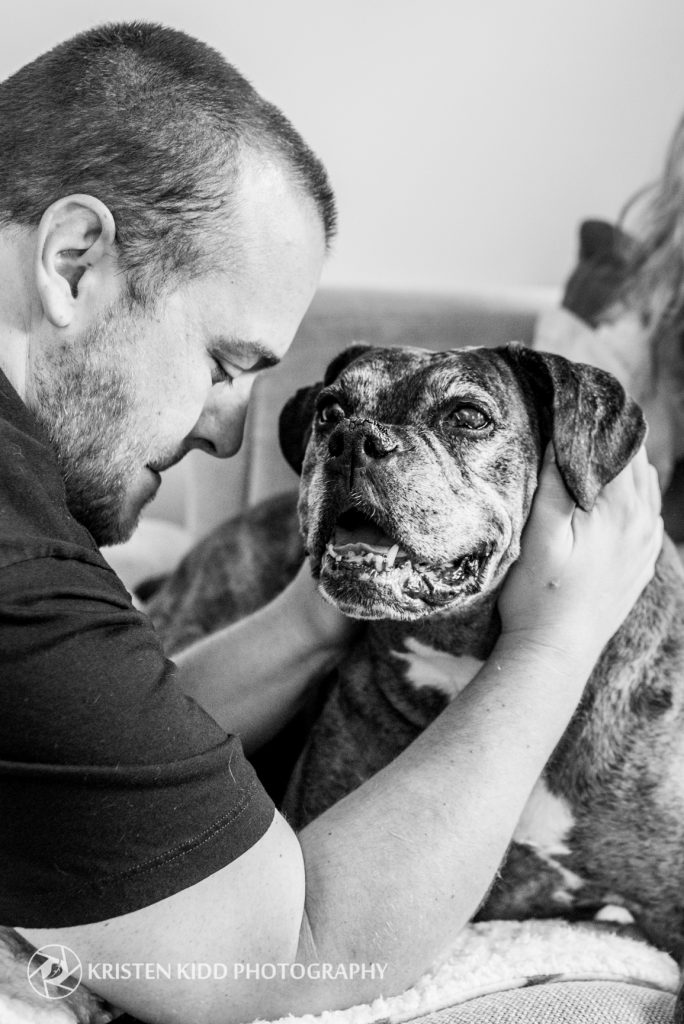 man with senior dog pet portrait in king of prussia