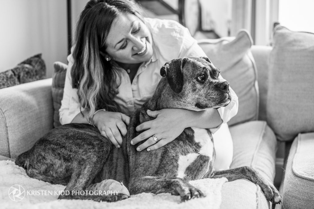 woman and boxer dog portrait in King of Prussia
