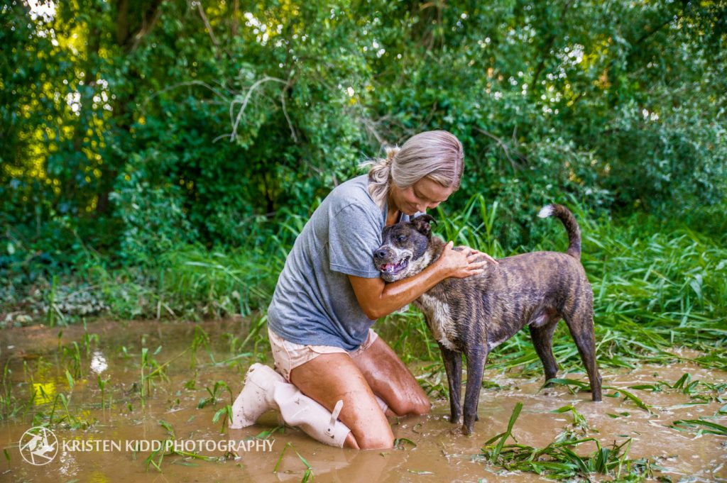 Delaware lifestyle pet photo session for woman and dog adopted from Brandywine Valley SPCA